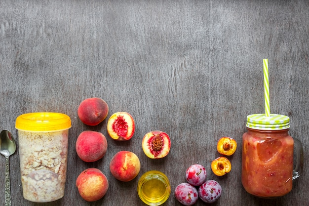 Peach and plum smoothies with fruit