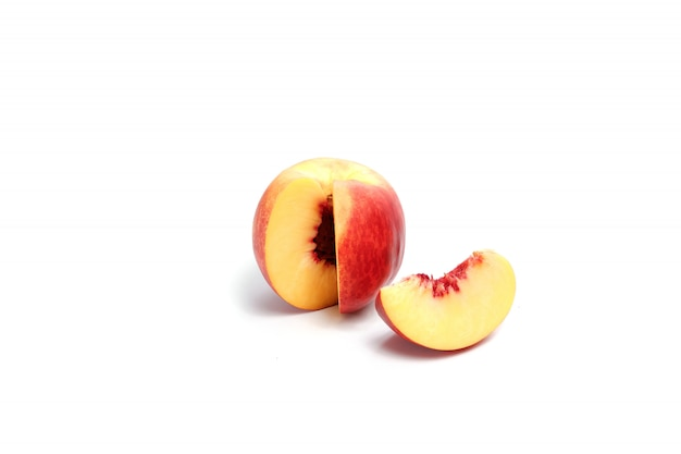 Peach on a white , composition, isolate.