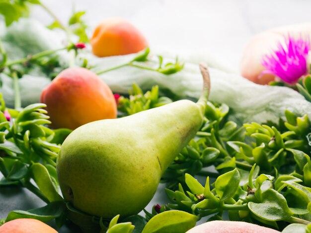 桃、アプリコット、梨