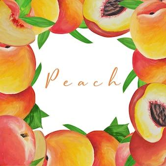 Рамка персиков. нежные плоды нарисованы и изолированы гуашью и акварелью в стиле реализма.