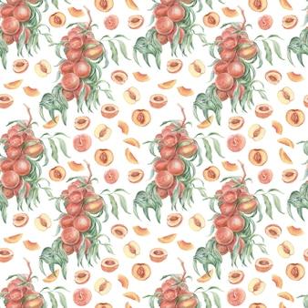 Персики фрукты акварель рисованной патерн бесшовные текстильной печати. сок джем натуральные продукты фанатизм природа растения сад урожай листья ветки
