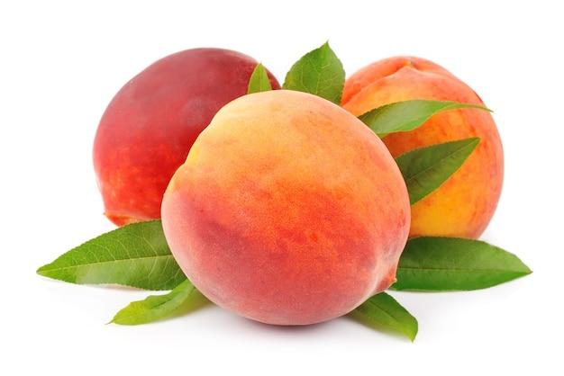 Персики на белом фоне