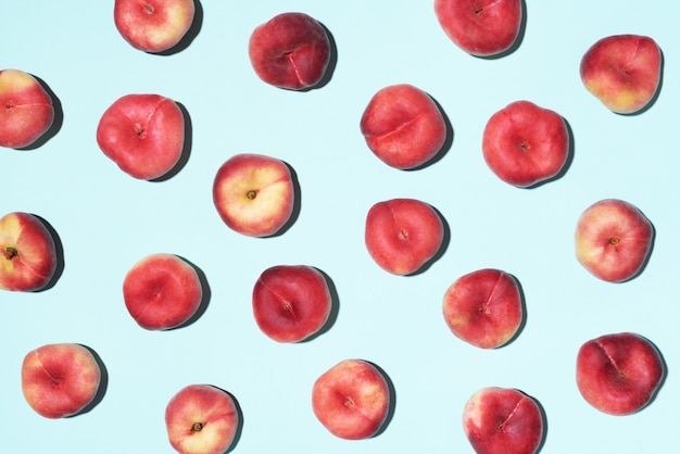 Peaches pattern on pastel blue background
