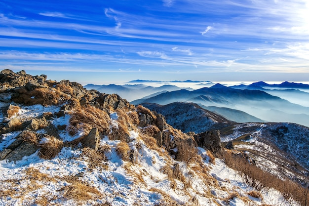 Peak of deogyusan mountains in winter,south korea.winter lanscape