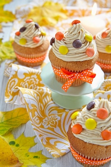 Peanut butter cupcakes decorated for autumn fall holidays