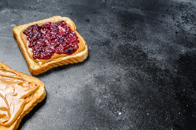 Peanut butter and jelly on white bread toasts