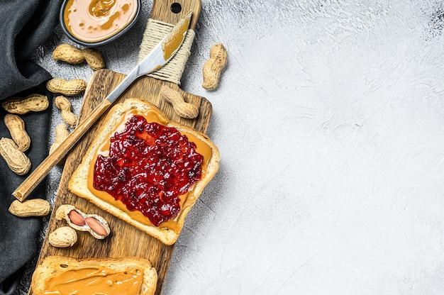 Peanut butter sandwich toast with berry jam