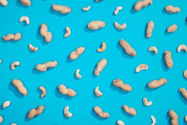 Peanut and cashews flat lay