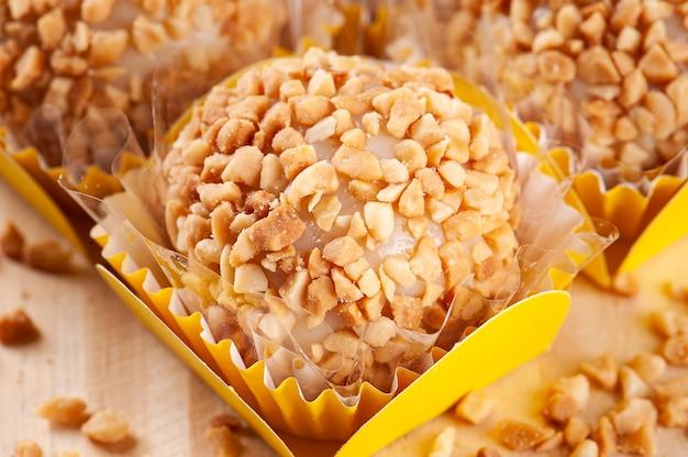 Peanut gourmet brigadeiro. typical brazilian sweet.