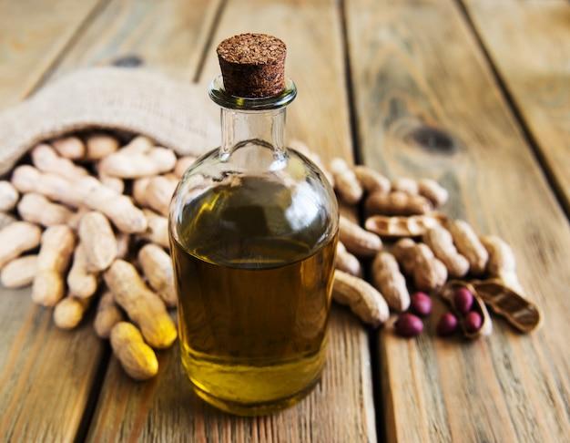 Peanut oil on a table