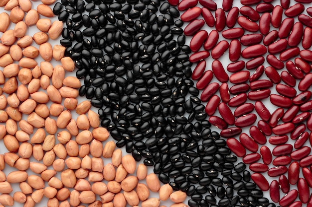 Peanut red bean black bean top view background