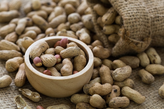 Peanut on sackcloth background