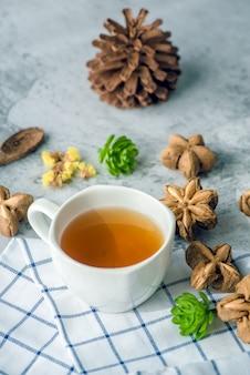 Peanut tea sacha on the table for morning health