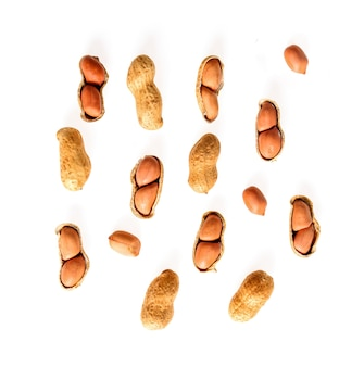 Peanuts dry isolated on white background top view