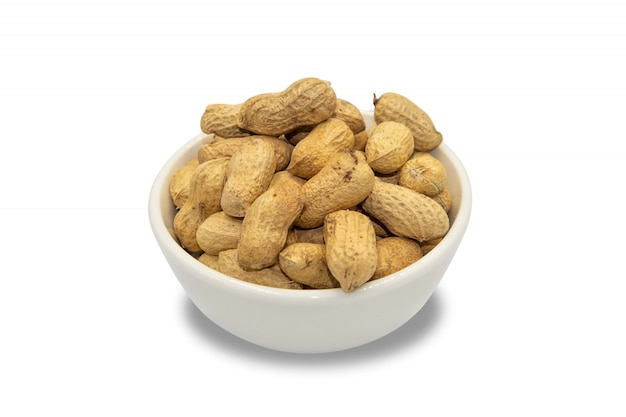 Peanuts roasted on white isolated background