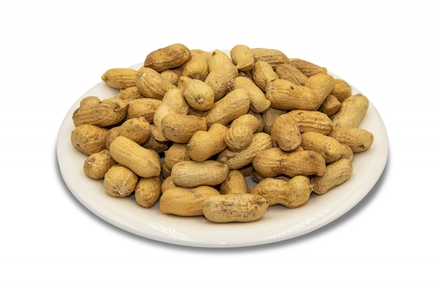 Peanuts roasted on white isolated background