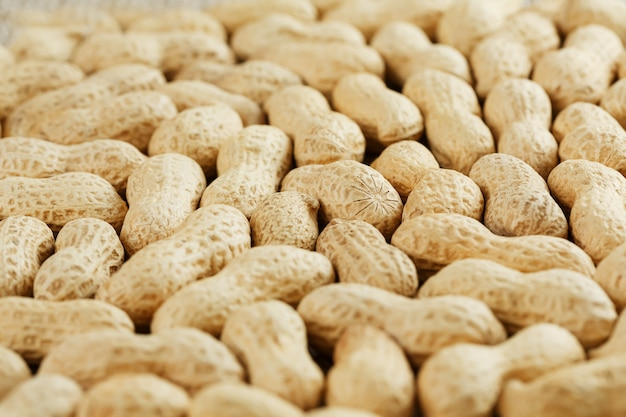 Peanuts in their shell textured food .