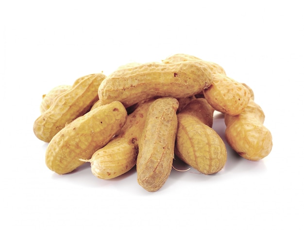 Peanuts on white wall