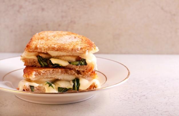 Pear, basil and mozzarella grilled bran bread sandwich