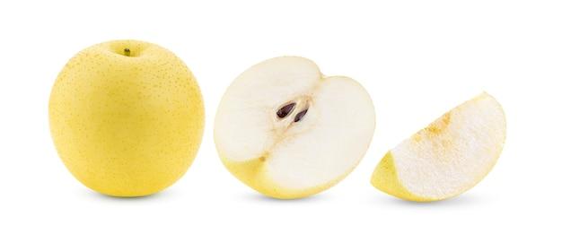 白い背景で隔離の梨の果実