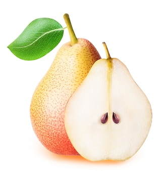 Pear fruit sliced collection isolated