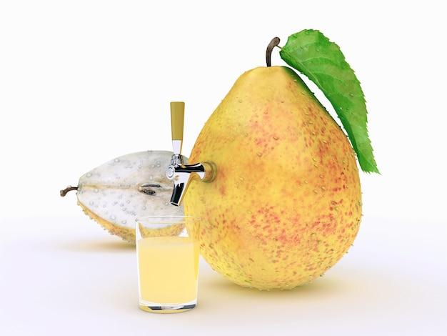 梨ジュースの3dレンダリング