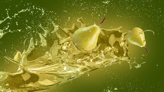 Pear juice splash background