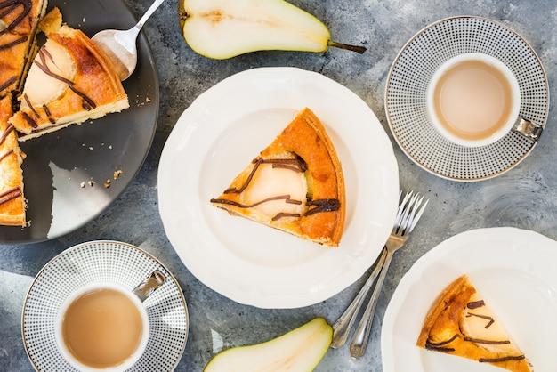 Pear pie or tart, autumn comfort food, top view