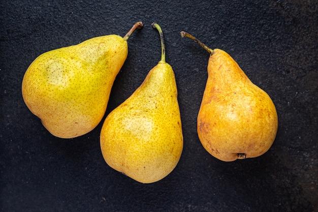 梨熟したジューシーなフルーツ新鮮なビタミンテーブルで食事スナックを食べる準備ができてコピースペース食品の背景