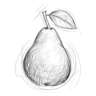 Эскиз груши. рисованной иллюстрации фруктов в стиле каракули. карандашный рисунок.