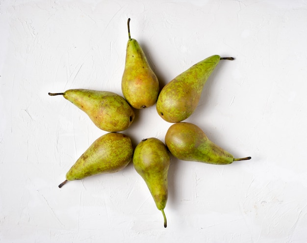 Pear on white background,top view