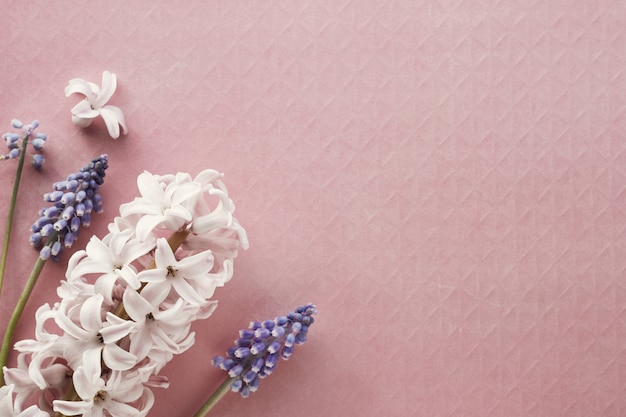 Pearl and grape hyacinth flowers on colored textured paper
