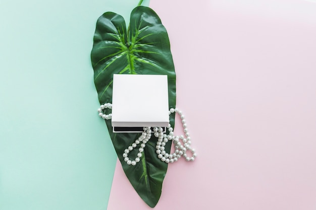 Pearls necklace in the box on green leaf over the pastel backdrop