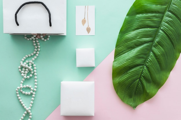 Pearls necklace and golden earrings on pastel backdrop with green leaf
