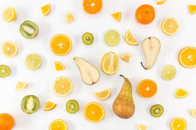Pears and citrus fruits top view