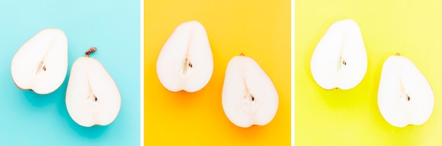 Pears on different color background