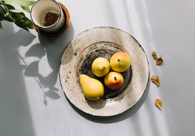 Pears and small pot
