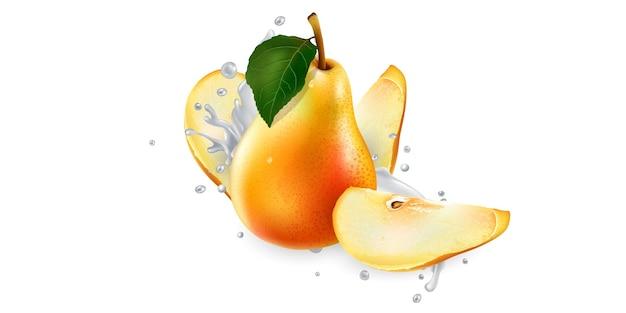 Pears in splashes of milk or yogurt.