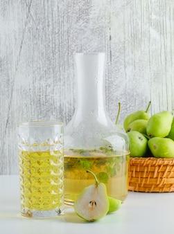 Груши с травяным напитком в корзине на белой и шероховатой стене, вид сбоку.