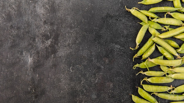 Peas arrangement with copy space
