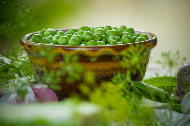 Peas green. selective focus. food and drink.