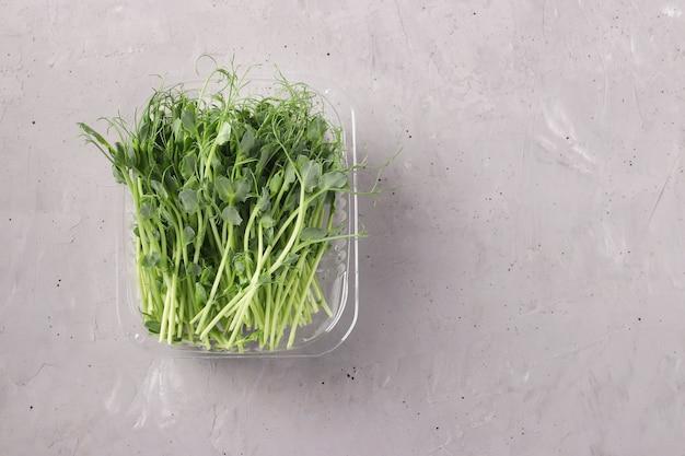 エンドウ豆のマイクログリーンは、灰色の表面、上面図、テキスト用のスペースのプラスチック容器にあります