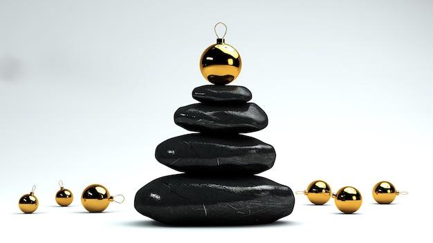 クリスマスの装飾が施されたスパ石の小石