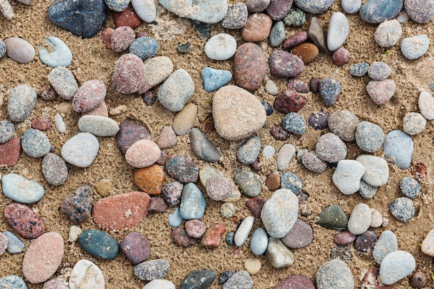 Pebble on the sand after rain. top view, beach