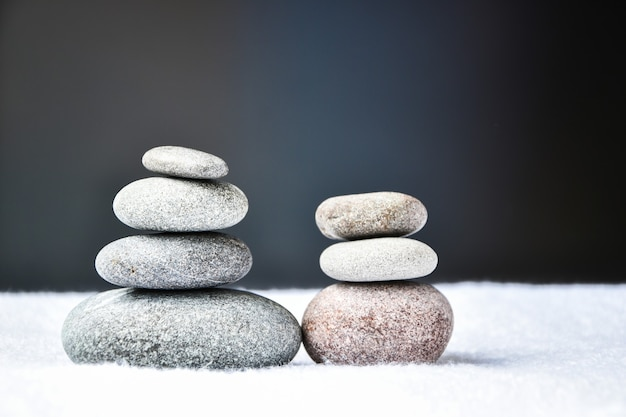 Pebbles stack, balance, pyramid of stones for meditation, stack of zen stones