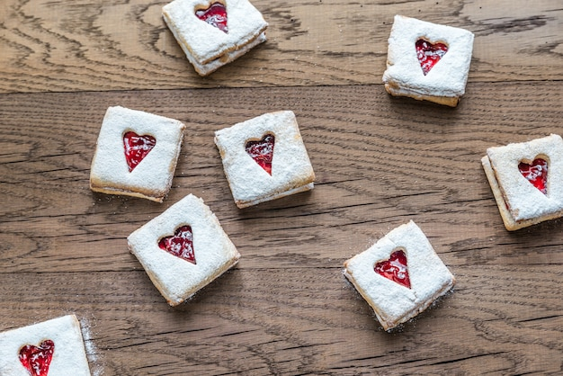 Pecan cookies with cherry filling