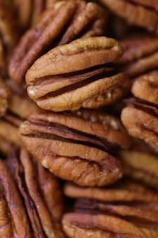 ピーカンナッツのクローズアップ。健康的な脂肪。