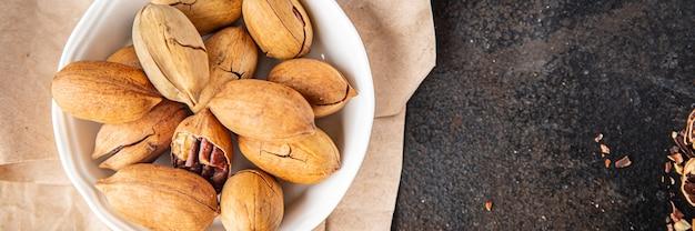 Pecan nut fresh meal snack on the table copy space food background rustic vegan or vegetarian