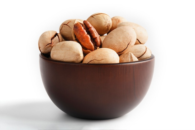 Pecan in a wooden bowl