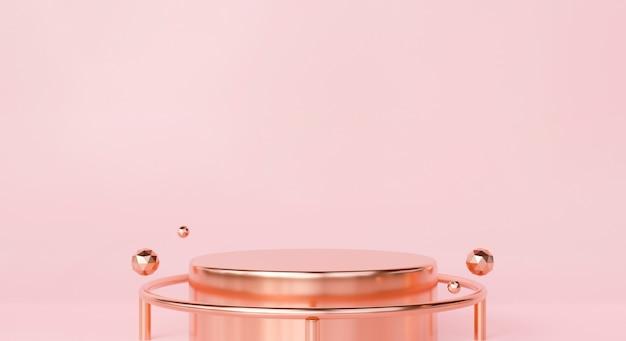 Пьедестал 3d-рендеринг подиума на розовой пастельной предпосылке абстрактных геометрических форм для студии фона. дизайн макета дисплея продукта красоты. креативные идеи минимальны. счастливого дня святого валентина.